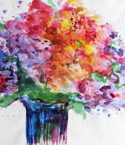 Sommerblumen-Aquarell